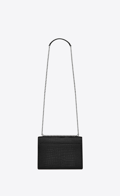 SAINT LAURENT Sunset Femme sac medium sunset en cuir noir brillant embossé façon crocodile b_V4