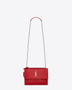 SAINT LAURENT Sunset D Sac SUNSET medium MONOGRAMME SAINT LAURENT en cuir rouge brillant embossé façon crocodile f
