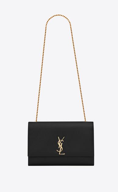 SAINT LAURENT MONOGRAM KATE D classic large kate chain bag in black grain de poudre textured leather a_V4