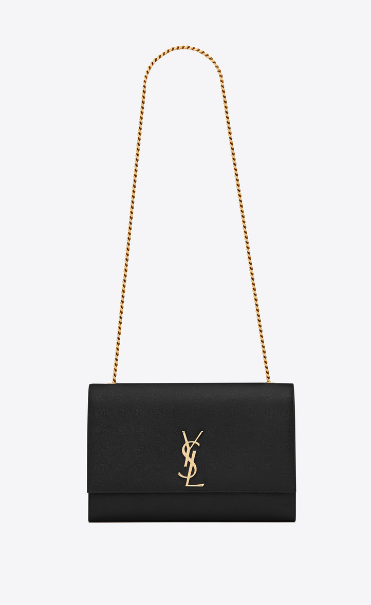 Large Kate Chain Bag In Black Textured Leather Front View