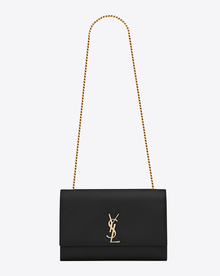Saint Laurent Classic Large Kate Satchel In Black Grain De ...