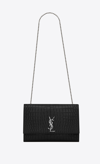 SAINT LAURENT MONOGRAM KATE Woman classic large kate chain bag in black crocodile embossed leather a_V4