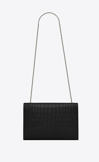SAINT LAURENT MONOGRAM KATE Woman large kate chain bag in black crocodile embossed leather b_V4