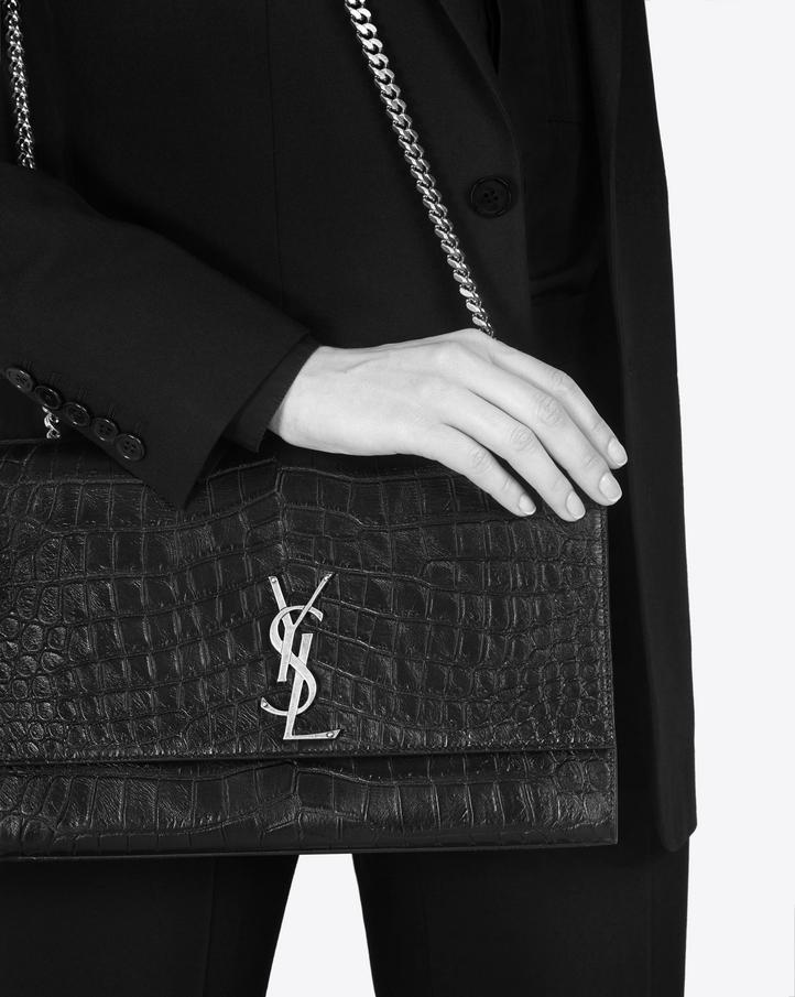 c1ec198cba71 Saint Laurent Large Kate Chain Bag In Black Crocodile Embossed ...
