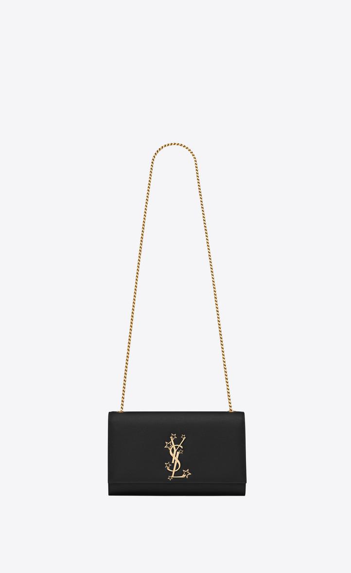 d378b01d36 Classic Medium KATE MONOGRAM SAINT LAURENT Satchel in Black Grain de Poudre  Textured Leather