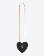 SAINT LAURENT Love Bag D Small LOVE Heart Chain Bag in Black Matelassé Leather f