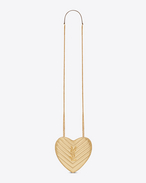 SAINT LAURENT Love Bag D Small LOVE Heart Chain Bag in Gold Matelassé Metallic Leather f