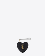 SAINT LAURENT Love Bag D LOVE Heart Clutch in Black Leather f