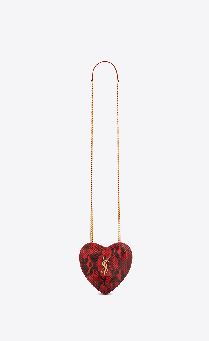 Saint Laurent Small Love Heart Chain Bag In Red And Black