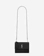 SAINT LAURENT Sunset D medium sunset satchel in black grained leather f
