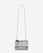 Small SUNSET MONOGRAM SAINT LAURENT Satchel in Grey Glitter