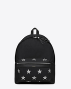 SAINT LAURENT Backpack U Classic HUNTING CALIFORNIA backpack in Black Nylon and Silver Metallic Leather f