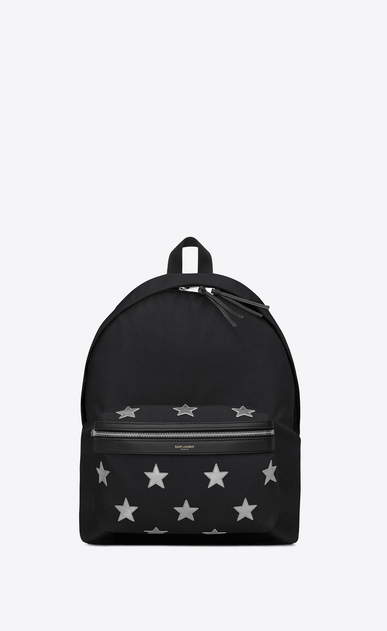 SAINT LAURENT Backpack U Classic city CALIFORNIA backpack in Black Nylon and Silver Metallic Leather a_V4