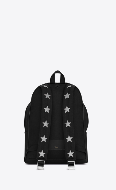 SAINT LAURENT Backpack U Classic City CALIFORNIA backpack in Black Nylon and Silver Metallic Leather b_V4