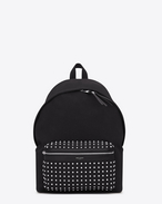 classic city backpack in black cotton canvas, leather and oxidized nickel studs