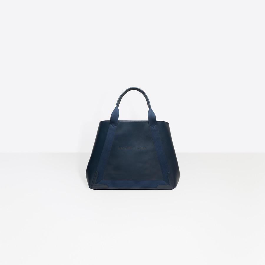 BALENCIAGA Leather Navy Cabas M Navy Handbag D f