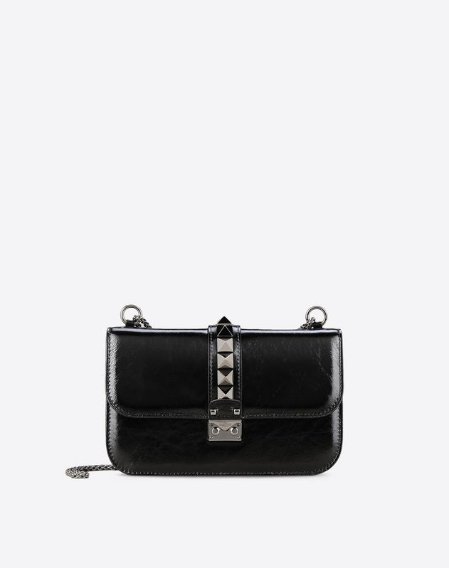 6067ac3776e Medium Cracked Lamb Lock Bag for Woman | Valentino Online Boutique