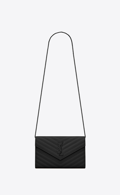 SAINT LAURENT Matelassé chain wallet D monogram chain wallet in black grain de poudre textured matelassé leather a_V4