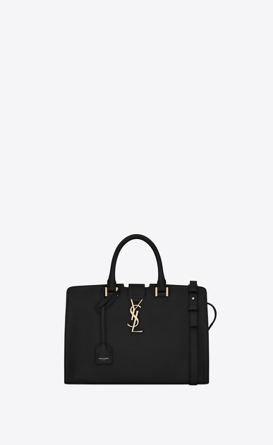 SAINT LAURENT Monogram Cabas Woman small cabas ysl bag in black leather a_V4
