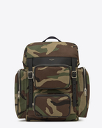 SAINT LAURENT Buckle Backpacks U hunting multi-pocket rucksack in camouflage cotton gabardine and black leather f