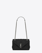 classic medium monogram saint laurent satchel in black leather