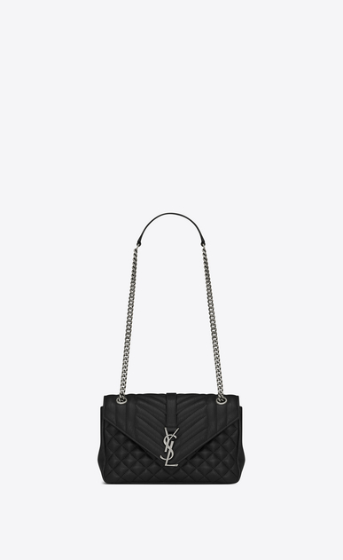 SAINT LAURENT Monogram envelope Bag D classic medium soft envelope in black leather a_V4