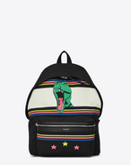 CITY Backpack in Black and Multicolor Dinosaur Printed Twill and Black Nylon and Leather