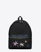 SAINT LAURENT Backpack U CITY Sea, Sex and Sun Backpack in Black Twill, Nylon and Leather and Multicolor Glitter and Metallic Leather f