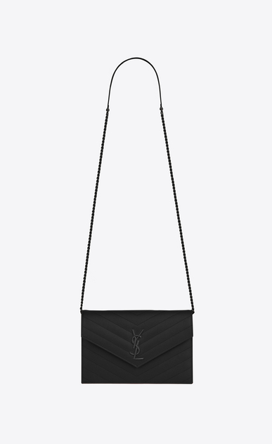 SAINT LAURENT Envelope Chain Wallet Woman envelope chain wallet in black textured matelassé leather a_V4