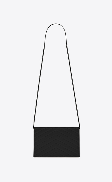 SAINT LAURENT Envelope Chain Wallet Woman envelope chain wallet in black textured matelassé leather b_V4