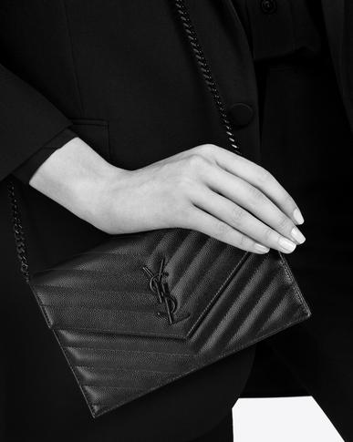 SAINT LAURENT Envelope Chain Wallet Woman envelope chain wallet in black textured matelassé leather y_V4
