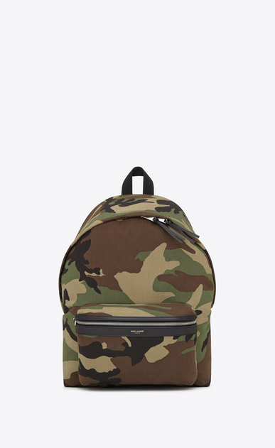 SAINT LAURENT Backpack Man city backpack in khaki cotton gabardine camouflage and black leather a_V4