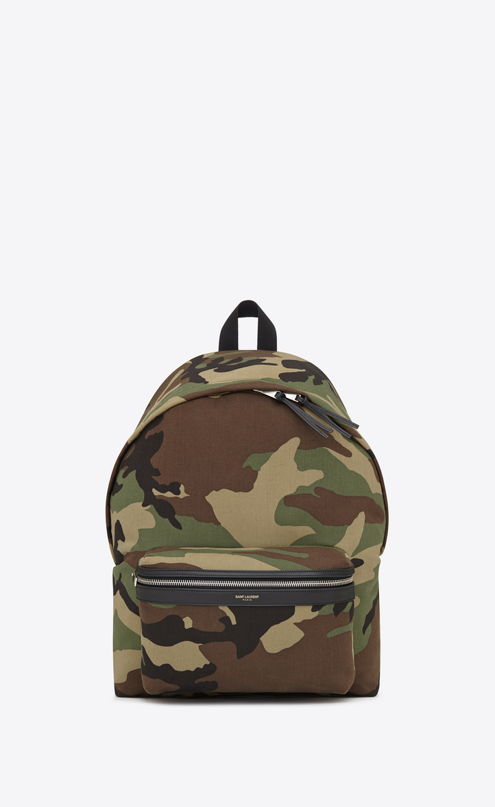 city backpack in khaki cotton gabardine camouflage and black leather, Front  view 6da4e527ae