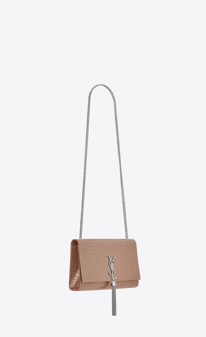 110503bc6218 medium kate tassel chain bag in antique rose crocodile embossed shiny  leather