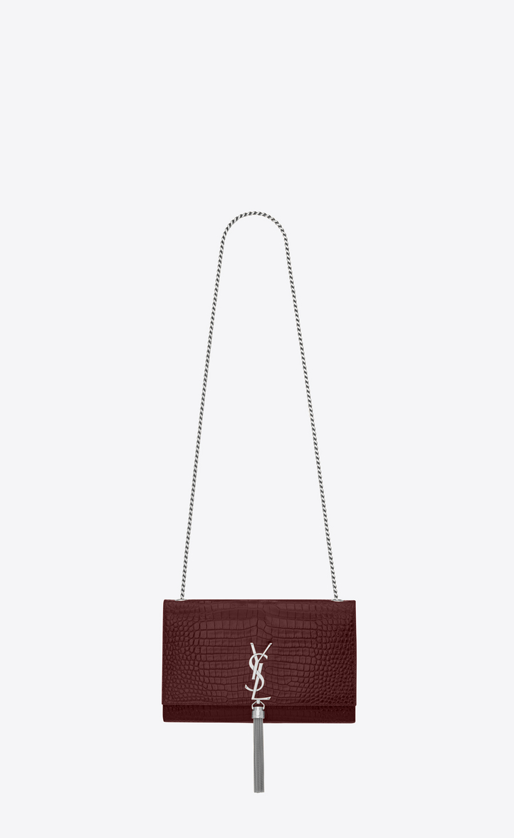 2ce6185a62d5 medium kate tassel chain bag in dark red crocodile embossed shiny leather