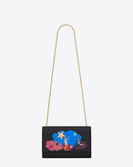 "SAINT LAURENT MONOGRAM KATE D Classic Medium KATE MONOGRAM SAINT LAURENT ""LOVE"" Satchel in Black Leather and Multicolor Metallic Leather, Glitter and Python Skin Patchwork f"