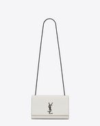 SAINT LAURENT MONOGRAM KATE D Satchel medium KATE MONOGRAMME SAINT LAURENT en cuir texturé grain-de-poudre blanc grisé et noir f