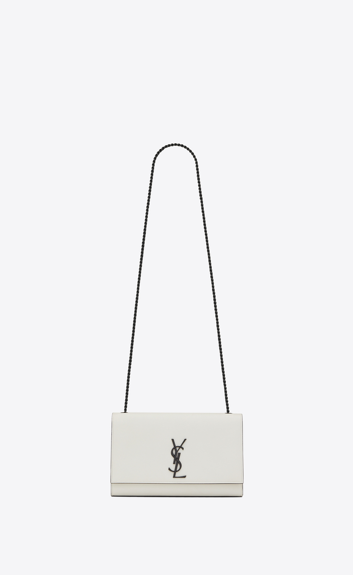 f681511dcea2 medium kate chain bag in dove white and black grain de poudre textured  leather
