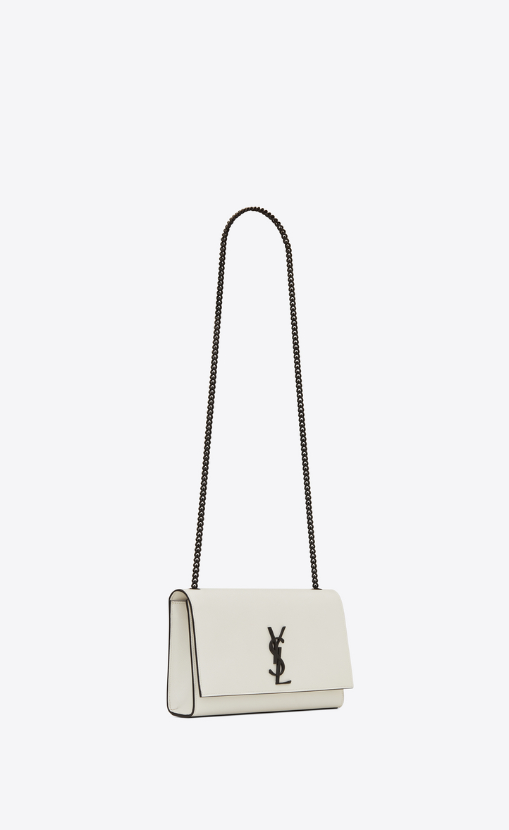 980a9786a4d4 Zoom  medium kate chain bag in dove white and black grain de poudre  textured leather