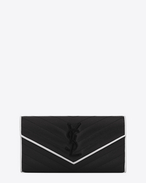 SAINT LAURENT Monogram Matelassé D Large MONOGRAM SAINT LAURENT Flap Wallet in Black and Dove White Grain de Poudre Textured Matelassé Leather f