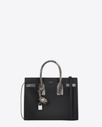 SAINT LAURENT Sac De Jour Small D Classic Small SAC DE JOUR Bag in Black Grained Leather and Black, Ivory and Silver Python Skin f