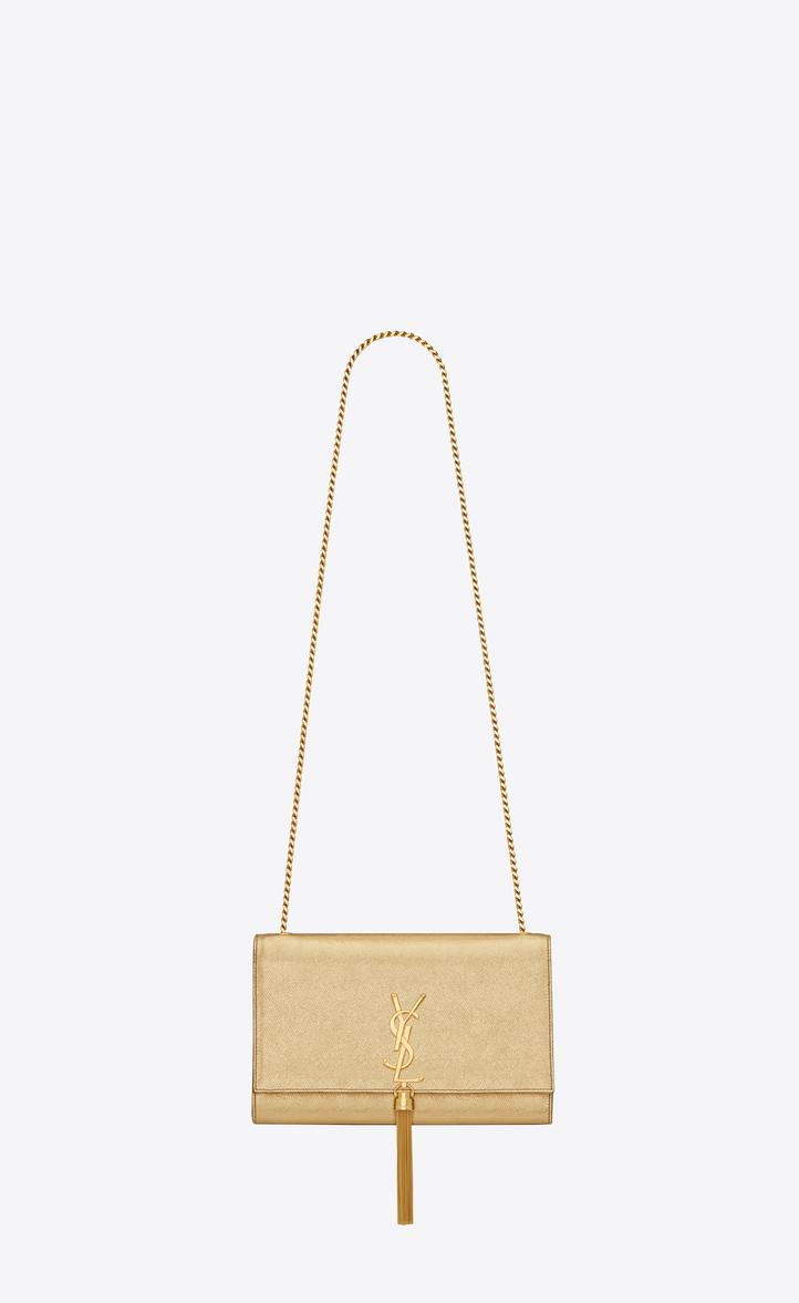 classic medium kate tassel satchel in gold grained metallic leather d77567e318
