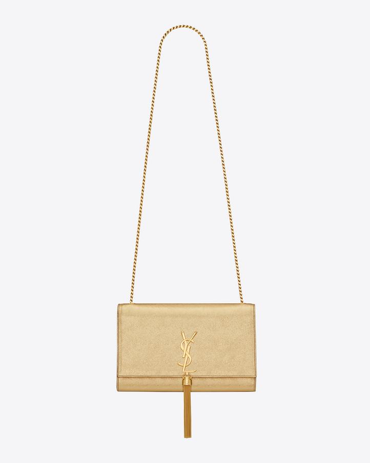 saint laurent classic medium kate tassel satchel in gold grained metallic leather