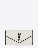 SAINT LAURENT Monogram Matelassé D Large MONOGRAM SAINT LAURENT Flap Wallet in Dove White and Black Grain de Poudre Textured Matelassé Leather f