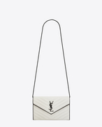 SAINT LAURENT Matelassé chain wallet D MONOGRAM SAINT LAURENT Chain Wallet in Dove White and Black Grain de Poudre Textured Matelassé Leather f