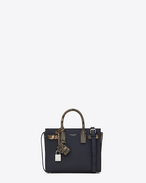 SAINT LAURENT Nano Sac de Jour D Classic Nano SAC DE JOUR Bag in Navy Blue Grained Leather and Black, Ivory and Silver Python Skin f