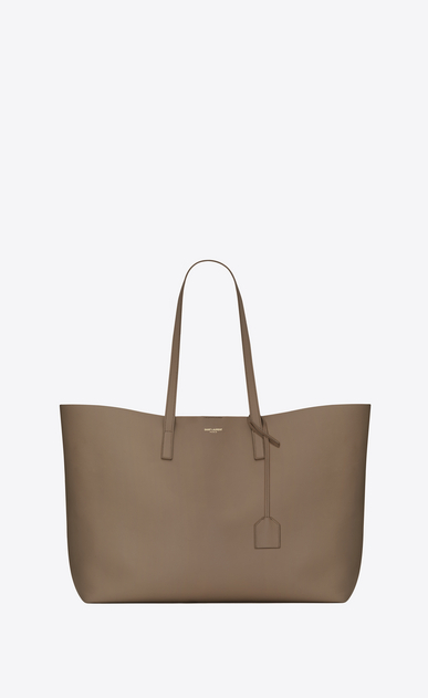 SAINT LAURENT Shopping Saint Laurent E/W D shopping saint laurent tote bag in taupe leather a_V4