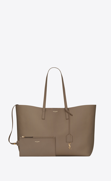 SAINT LAURENT Shopping Saint Laurent E/O Femme sac shopping en cuir taupe b_V4