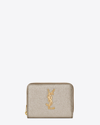 SAINT LAURENT Monogram D Grand portefeuille compact zippé MONOGRAMME SAINT LAURENT en cuir grainé métallisé or pâle f