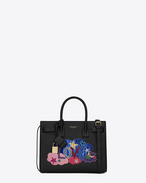 "SAINT LAURENT Baby Sac de Jour D Classic Baby SAC DE JOUR ""LOVE"" Bag in Black Leather and Multicolor Patchwork f"